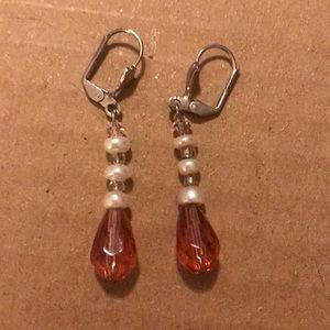 Pearl/Pink Color Dangling Clip Earrings